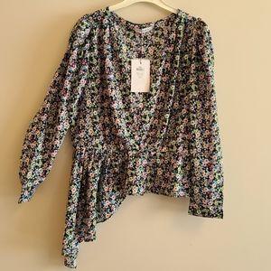 Neon & Nylon Ria long sleeve asymmetrical blouse